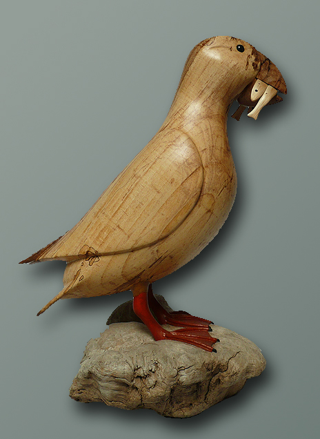 Bird carvings puffins by rand jack