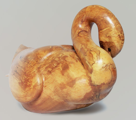 Swan carved from spalted maple